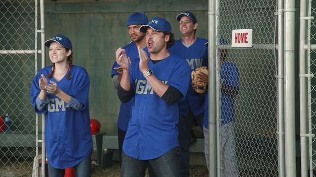 "GREY'S ANATOMY - ""Put Me In, Coach"" - Owen stresses teamwork and moves his leadership role over to the baseball field when he signs the doctors up for a baseball league, pitting them against their biggest competition, Seattle Presbyterian; Lexie tries to hide her jealous rage when she sees Mark with a new woman, but her emotions get the better of her; Alex fights to keep Zola at Seattle Grace after it is suggested that she be moved to another hospital due to a conflict of interest with Meredith and Derek; and Richard scolds Meredith and Bailey for their feud, on Grey's Anatomy, THURSDAY, OCTOBER 27 (9:00-10:02 p.m., ET) on the ABC Television Network. (ABC/RICHARD CARTWRIGHT)SARAH DREW, JESSE WILLIAMS, PATRICK DEMPSEY"