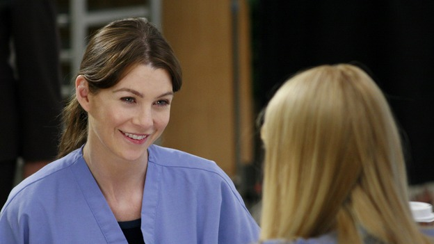 "GREY'S ANATOMY - ""Scars and Souvenirs"" - The race for chief heats up after a new competitor enters the fray, tensions escalate between Izzie and George, and Callie must reveal a big secret. Meanwhile, Derek treats a patient near and dear to him, while Alex continues his work with Jane Doe, on ""Grey's Anatomy,"" THURSDAY, MARCH 15 (9:00-10:01 p.m., ET) on the ABC Television Network. (ABC/RON TOM)ELLEN POMPEO, KATHERINE HEIGL"