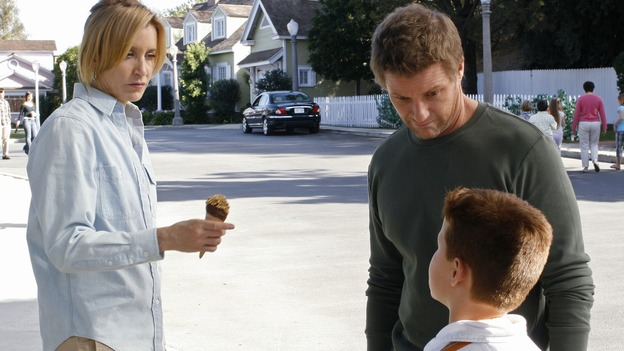 "DESPERATE HOUSEWIVES - ""I Remember That"" - Lynette and Tom with their son Preston, on ""Desperate Housewives,"" SUNDAY, FEBRUARY 11 (9:00-10:01 p.m., ET) on the ABC Television Network. (ABC/RON TOM) FELICITY HUFFMAN, DOUG SAVANT, BRENT KINSMAN"