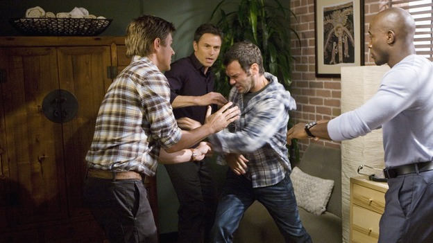 "PRIVATE PRACTICE - ""Second Chances"" - Addison's brother, Archer, moves to LA to begin work at Pacific Wellcare, causing problems for both her and Naomi, and Cooper encourages Violet to talk to Pete and Sheldon about her pregnancy, but she's reluctant when she learns that neither of them wants children, on ""Private Practice,"" THURSDAY, JANUARY 29 (10:01-11:00 p.m., ET) on the ABC Television Network. (ABC/RANDY HOLMES)CHRIS LOWELL, TIM DALY, CHRISTOPHER GARTIN, TAYE DIGGS"