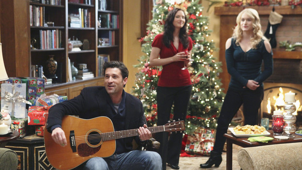 "GREY'S ANATOMY - ""Holidaze"" -- As Thanksgiving, Christmas and New Year's pass, Miranda is visited by her father, William, who disapproves of her choices in life; meanwhile, Mark and Lexie must cope with the shocking arrival of a woman from his past, and Thatcher Grey questions the Chief's recent behavior as Meredith comes to his defense, on ""Grey's Anatomy,"" THURSDAY, NOVEMBER 19 (9:00-10:01 p.m., ET) on the ABC Television Network. (ABC/DANNY FELD)PATRICK DEMPSEY, CHYLER LEIGH, LEVEN RAMBIN"