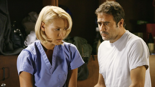 GREY'S ANATOMY - &quot;Rise Up&quot; - Izzie has begun seeing Denny, on &quot;Grey's Anatomy,&quot; THURSDAY, NOVEMBER 6 (9:00-10:01 p.m., ET) on the ABC Television Network. (ABC/SCOTT GARFIELD) KATHERINE HEIGL, JEFFREY DEAN MORGAN