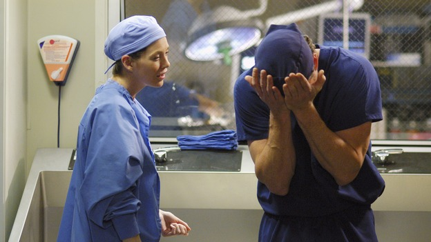 "GREY'S ANATOMY - ""Desire"" - As the interns of Seattle Grace cram for their upcoming exam, the attendings vie for the Chief's position by tending to the chairman of the hospital board after he's admitted as a patient. Meanwhile, Burke struggles to involve Cristina in the wedding planning, things heat up between Addison and Alex, and Derek questions his relationship with Meredith, on ""Grey's Anatomy,"" THURSDAY, APRIL 26 (9:00-10:01 p.m., ET) on the ABC Television Network. (ABC/GALE ADLER)ELLEN POMPEO, ERIC DANE"