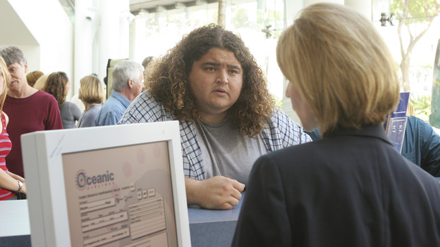 "LOST - ""Exodus"" - Hurley at the Oceanic ticketing counter, on ""Lost,"" on THURSDAY, MAY 18 on the ABC Television Network. (ABC/MARIO PEREZ) JORGE GARCIA, SUZANNE TUNER"
