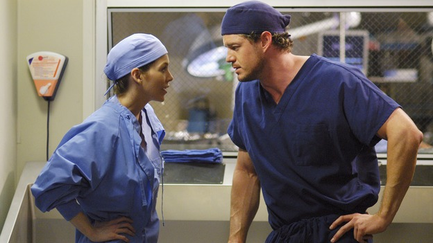 GREY'S ANATOMY - &quot;Desire&quot; - As the interns of Seattle Grace cram for their upcoming exam, the attendings vie for the Chief's position by tending to the chairman of the hospital board after he's admitted as a patient. Meanwhile, Burke struggles to involve Cristina in the wedding planning, things heat up between Addison and Alex, and Derek questions his relationship with Meredith, on &quot;Grey's Anatomy,&quot; THURSDAY, APRIL 26 (9:00-10:01 p.m., ET) on the ABC Television Network. (ABC/GALE ADLER)ELLEN POMPEO, ERIC DANE