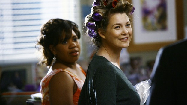 "GREY'S ANATOMY - ""What a Difference a Day Makes"" - Meredith and Bailey check out Alex in his tuxedo, on ""Grey's Anatomy,"" THURSDAY, MAY 7 (9:00-10:02 p.m., ET) on the ABC Television Network. (ABC/SCOTT GARFIELD) CHANDRA WILSON, ELLEN POMPEO"