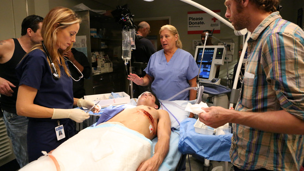 GREY'S ANATOMY - &quot;Flight&quot; - Faced with a life threatening situation, the doctors must fight to stay alive while trying to save the lives of their peers; Bailey and Ben make a decision regarding their relationship; and Teddy is presented with a tempting offer. Meanwhile, Richard plans a special dinner for the residents, on the Season Finale of &quot;Grey's Anatomy,&quot; THURSDAY, MAY 17 (9:00-10:01 p.m., ET) on the ABC Television Network. (ABC/DANNY FELD)KIM RAVER, LINDA KLEIN (PRODUCER)