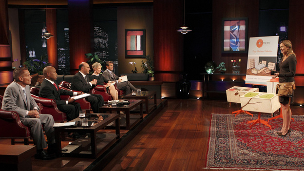 "SHARK TANK - ""Episode 206"" -- For the first time, there will be children seeking a business investment from the Sharks for an idea they came up with while on a family road trip. Also in this episode, a stay-at-home mom who taught herself carpentry and started a furniture business has the Sharks fighting for a piece of it; an entrepreneur brings an innovative secret formula to the Tank; and a personal trainer believes he has the next hot trend in fitness equipment.  In addition, there'll be a follow-up with Grill Charms' owner, Leslie Haywood, to see what making a deal with Robert Herjavec has done for her barbeque accessory, on ""Shark Tank,"" FRIDAY, APRIL 1 (8:00-9:00 p.m., ET) on the ABC Television Network. (ABC/CRAIG SJODIN)KEVIN HARRINGTON, DAYMOND JOHN, KEVIN O'LEARY, BARBARA CORCORAN, ROBERT HERJAVEC, KIERSTEN HATHCOCK (MOD MOM FURNITURE)"