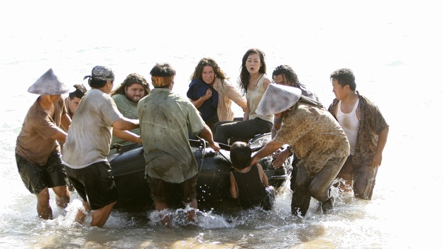 "LOST - ""There's No Place Like Home,"" Parts 2 & 3 - The face-off between the survivors and the freighter people continues, and the Oceanic Six find themselves closer to rescue, on the two-hour Season Finale of ""Lost,"" THURSDAY, MAY 29 (9:00-11:00 p.m., ET) on the ABC Television Network. (ABC/MARIO PEREZ)MATTHEW FOX, JORGE GARCIA, EVANGELINE LILLY, YUNJIN KIM, NAVEEN ANDREWS"