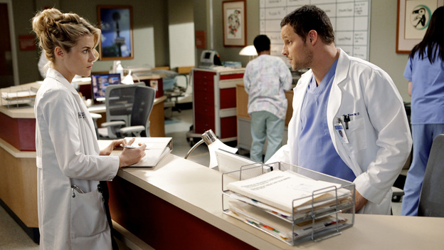 "GREY'S ANATOMY - ""I Will Survive"" - Personal and work pressures are adding up and have Meredith visibly on edge, Owen conducts formal interviews for the Chief Resident position, Cristina grows increasingly defiant, Alex and Lucy's undefined relationship gets tested, and Jackson suddenly backs out of the Webber's diabetes trial, on ""Grey's Anatomy,"" THURSDAY, MAY 12 (9:00-10:01 p.m., ET) on the ABC Television Network. (ABC/ADAM TAYLOR)RACHAEL TAYLOR, JUSTIN CHAMBERS"