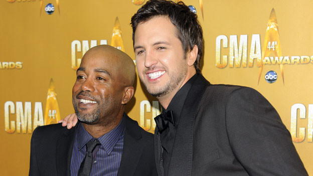 "THE 44TH ANNUAL CMA AWARDS - RED CARPET ARRIVALS - ""The 44th Annual CMA Awards"" will be broadcast live from the Bridgestone Arena in Nashville, WEDNESDAY, NOVEMBER 10 (8:00-11:00 p.m., ET) on the ABC Television Network. (ABC/ANDREW WALKER)DARIUS RUCKER, LUKE BRYAN"