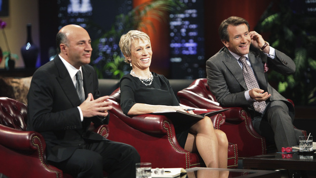 SHARK TANK - &quot;Episode 206&quot; -- For the first time, there will be children seeking a business investment from the Sharks for an idea they came up with while on a family road trip. Also in this episode, a stay-at-home mom who taught herself carpentry and started a furniture business has the Sharks fighting for a piece of it; an entrepreneur brings an innovative secret formula to the Tank; and a personal trainer believes he has the next hot trend in fitness equipment.  In addition, there'll be a follow-up with Grill Charms' owner, Leslie Haywood, to see what making a deal with Robert Herjavec has done for her barbeque accessory, on &quot;Shark Tank,&quot; FRIDAY, APRIL 1 (8:00-9:00 p.m., ET) on the ABC Television Network. (ABC/ADAM TAYLOR)KEVIN O'LEARY, BARBARA CORCORAN, ROBERT HERJAVEC