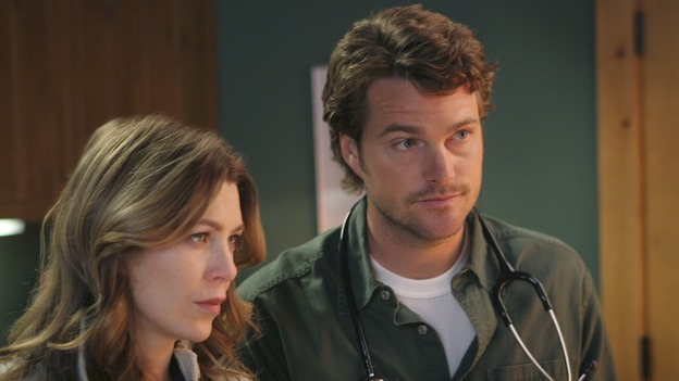 GREY'S ANATOMY - In the first hour of part two of the season finale of ABC's &quot;Grey's Anatomy&quot; -- &quot;Deterioration of the Fight or Flight Response&quot; -- Izzie and George attend to Denny as the pressure increases to find him a new heart, Cristina suddenly finds herself in charge of an ER, and Derek grapples with the realization that the life of a friend is in his hands. In the second hour, &quot;Losing My Religion,&quot; Richard goes into interrogation mode about a patient's condition, Callie confronts George about his feelings for her, and Meredith and Derek meet about Doc. Part two of the season finale of &quot;Grey's Anatomy&quot; airs MONDAY, MAY 15 (9:00-11:00 p.m., ET) on the ABC Television Network. (ABC/MICHAEL DESMOND)ELLEN POMPEO, CHRIS O'DONNELL