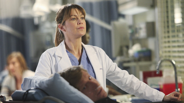 "GREY'S ANATOMY - ""Golden Hour"" - Meredith, looking to prove she is Chief Resident material, learns that anything and everything can happen in an hour's time when she steps up to run the ER for a night; meanwhile, Bailey sneaks off with Eli and gets into a little mischief, and everyone is surprised when the Chief's wife, Adele, shows up as one of the ER patients, on ""Grey's Anatomy,"" THURSDAY, FEBRUARY 17 (9:00-10:01 p.m., ET) on the ABC Television Network. (ABC/DANNY FELD)ELLEN POMPEO"
