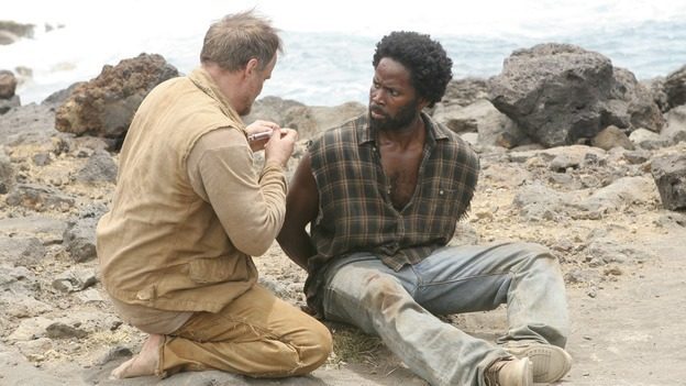 "LOST -- ""Three Minutes"" - A determined Michael convinces Jack and several castaways to help him rescue Walt from ""The Others."" Meanwhile, Charlie struggles with Eko's decision to discontinue building the church, on ""Lost,"" WEDNESDAY, MAY 17 (9:00-10:01 p.m., ET), on the ABC Television Network. (ABC/MARIO PEREZ)MICHAEL BOWEN, HAROLD PERRINEAU"