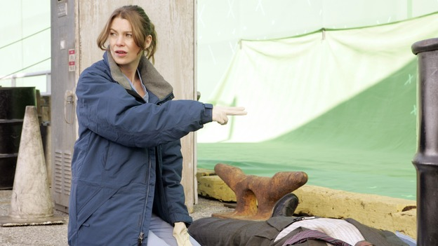 "GREY'S ANATOMY - ""Walk on Water"" - Ellen Pompeo reviews producer/technical advisor Linda Klein's coaching while shooting ""Grey's Anatomy"" on location at the Santa Anita Park in Arcadia, California. (ABC/VIVIAN ZINK)"