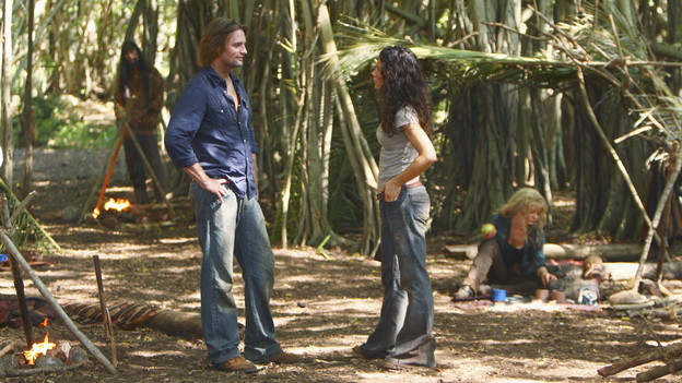 "LOST - ""Everybody Loves Hugo"" - Hurley agonizes over what the group should do next, and Locke is curious about the new arrival to his camp, on ""Lost,"" TUESDAY, APRIL 13 (9:00-10:02 p.m., ET) on the ABC Television Network. (ABC/MARIO PEREZ) JOSH HOLLOWAY, EVANGELINE LILLY, EMILIE DE RAVIN"