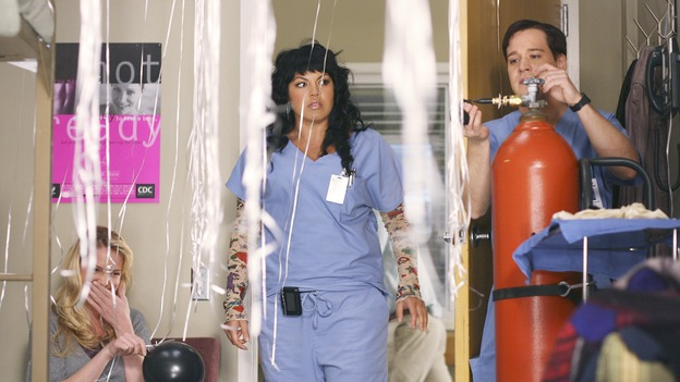 GREY'S ANATOMY - In the first hour of part two of the season finale of ABC's &quot;Grey's Anatomy&quot; -- &quot;Deterioration of the Fight or Flight Response&quot; -- Izzie and George attend to Denny as the pressure increases to find him a new heart, Cristina suddenly finds herself in charge of an ER, and Derek grapples with the realization that the life of a friend is in his hands. In the second hour, &quot;Losing My Religion,&quot; Richard goes into interrogation mode about a patient's condition, Callie confronts George about his feelings for her, and Meredith and Derek meet about Doc. Part two of the season finale of &quot;Grey's Anatomy&quot; airs MONDAY, MAY 15 (9:00-11:00 p.m., ET) on the ABC Television Network. (ABC/SCOTT GARFIELD)KATHERINE HEIGL, SARA RAMIREZ, T.R. KNIGHT