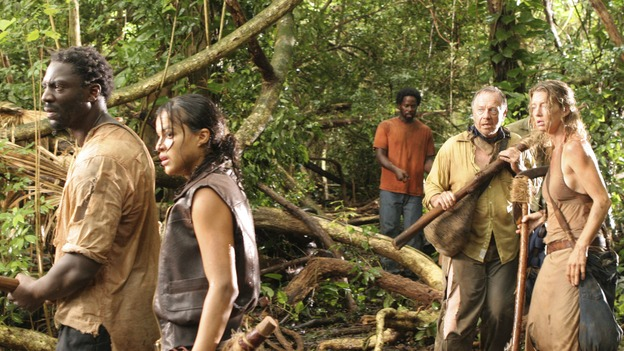 "LOST - ""Abandoned"" - Sawyer's wound becomes life-threatening as he, Michael and Jin make their way through the interior of the island with the tail section survivors. Meanwhile, Shannon is once again haunted by visions of Walt, and Charlie becomes jealous of Locke's interest in Claire, on ""Lost,"" WEDNESDAY, OCTOBER 26 (9:00-10:00 p.m., ET), on the ABC Television Network. (ABC/MARIO PEREZ)ADEWALE AKINNUOYE-AGBAJE, MICHELLE RODRIGUEZ, HAROLD PERRINEAU, SAM ANDERSON, CYNTHIA WATROS"