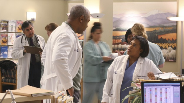 "GREY'S ANATOMY - In the first hour of part two of the season finale of ABC's ""Grey's Anatomy"" -- ""Deterioration of the Fight or Flight Response"" -- Izzie and George attend to Denny as the pressure increases to find him a new heart, Cristina suddenly finds herself in charge of an ER, and Derek grapples with the realization that the life of a friend is in his hands. In the second hour, ""Losing My Religion,"" Richard goes into interrogation mode about a patient's condition, Callie confronts George about his feelings for her, and Meredith and Derek meet about Doc. Part two of the season finale of ""Grey's Anatomy"" airs MONDAY, MAY 15 (9:00-11:00 p.m., ET) on the ABC Television Network. (ABC/SCOTT GARFIELD)JAMES PICKENS, JR., CHANDRA WILSON"