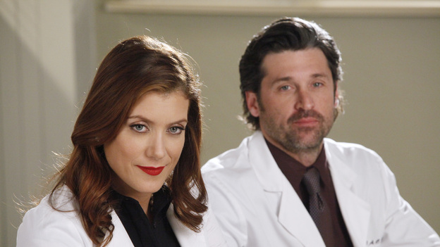 "GREY'S ANATOMY - ""If/Then"" - As Meredith puts Zola to bed and falls asleep, she begins to wonder -- what if her mother had never had Alzheimer's and she'd had loving, supportive parents? The reverberations of a happy Meredith Grey change the world of Seattle Grace as we know it. What if she had never met Derek in that bar and he had never separated from Addison? What if Callie and Owen had become a couple long before she met Arizona? And what if Bailey never evolved from the meek intern she once was? ""Grey's Anatomy"" airs THURSDAY, FEBRUARY 2 (9:00-10:02 p.m., ET) on the ABC Television Network. (ABC/VIVIAN ZINK)KATE WALSH, PATRICK DEMPSEY"