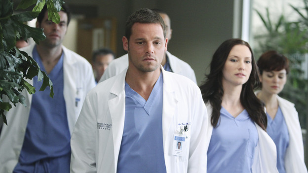 "GREY'S ANATOMY - ""State of Love and Trust"" - As Derek begins his role as interim chief, he faces a potential lawsuit when Bailey and Meredith's patient awakens from anesthesia mid-surgery. Meanwhile, Teddy refuses to place Cristina on her service, as Arizona tests Alex out in Pediatrics, and Mark refuses to speak to a heartbroken Lexie, on ""Grey's Anatomy,"" THURSDAY, FEBRUARY 4 (9:00-10:01 p.m., ET) on the ABC Television Network. (ABC/ADAM LARKEY)ROBERT BAKER, JUSTIN CHAMBERS, CHYLER LEIGH, NORA ZEHETNER"