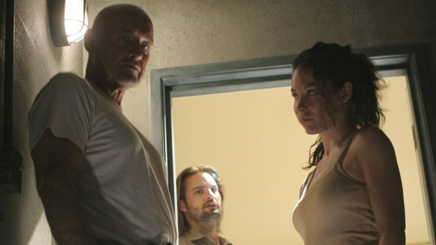 "LOST - ""Eggtown"" - Kate's need to get information out of the hostage may jeopardize her standing with Locke -- as well as with Sawyer -- on ""Lost,"" THURSDAY, FEBRUARY 21 (9:00-10:02 p.m., ET) on the ABC Television Network. (ABC/MARIO PEREZ)TERRY O'QUINN, JOSH HOLLOWAY, EVANGELINE LILLY"