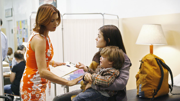 PRIVATE PRACTICE - &quot;Pushing the Limits&quot; - Addison, Sam and Cooper treat the sick child of a homeless teen mother they met while volunteering. Meanwhile Violet has trouble relating to her baby when her feelings about her attack resurface during counseling of a rape victim who is now pregnant, and Cooper's financial woes catch up with him when he's asked to help buy out Naomi's share of the practice, on &quot;Private Practice,&quot; THURSDAY, OCTOBER 22 (10:01-11:00 p.m., ET) on the ABC Television Network. (ABC/ADAM LARKEY)KATE WALSH, LUCY HALE
