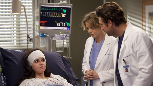 "GREY'S ANATOMY - ""The Girl with No Name"" - The doctors work on a Jane Doe, who turns out to be the subject of a case that gained national interest; Cristina proves to be the highest in demand as the residents begin their interviews for post-residency positions at prospective hospitals; and Richard is faced with an unsettling realization when he visits Adele at Rose Ridge, on ""Grey's Anatomy,"" THURSDAY, APRIL 19 (9:00-10:01 p.m., ET) on the ABC Television Network. (ABC/RANDY HOLMES)VANESSA MARANO, ELLEN POMPEO, PATRICK DEMPSEY"