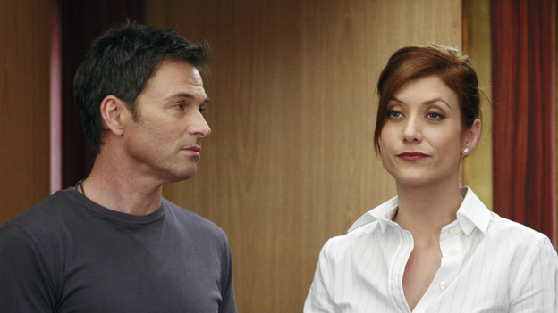 "GREY'S ANATOMY - ""The Other Side of This Life"" - Addison takes temporary leave from Seattle Grace and makes a road trip to Los Angeles in order to visit some old friends from medical school. As Meredith continues to bond with her stepmother, Susan, Cristina reluctantly plans her wedding with the assistance of her mother, Helen, and Burke's mother, Mama Jane. Meanwhile, Derek must perform  emergency surgery on Ava/Jane Doe, as Alex continues his unfailing bedside manner with her, on ""Grey's Anatomy,"" THURSDAY, MAY 3 (9:00-11:00 p.m., ET) on the ABC Television Network. (ABC/RON  TOM)TIM DALY, KATE WALSH"