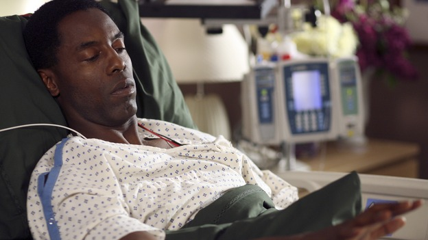 GREY'S ANATOMY - In the first hour of part two of the season finale of ABC's &quot;Grey's Anatomy&quot; -- &quot;Deterioration of the Fight or Flight Response&quot; -- Izzie and George attend to Denny as the pressure increases to find him a new heart, Cristina suddenly finds herself in charge of an ER, and Derek grapples with the realization that the life of a friend is in his hands. In the second hour, &quot;Losing My Religion,&quot; Richard goes into interrogation mode about a patient's condition, Callie confronts George about his feelings for her, and Meredith and Derek meet about Doc. Part two of the season finale of &quot;Grey's Anatomy&quot; airs MONDAY, MAY 15 (9:00-11:00 p.m., ET) on the ABC Television Network. (ABC/SCOTT GARFIELD)ISAIAH WASHINGON