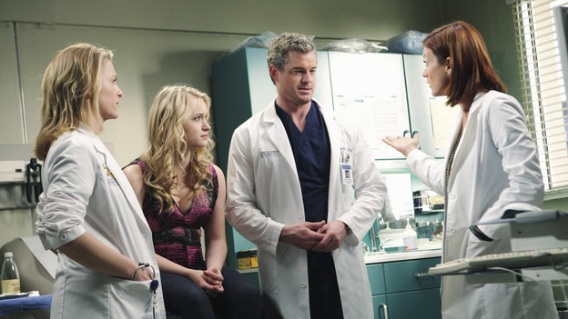 GREY'S ANATOMY - &quot;Blink&quot;- Mark flies Addison to Seattle to help with a difficult procedure on his pregnant daughter, Sloan, Owen questions Teddy's motives when she assigns Cristina the lead on a complicated surgery, and Derek's suspicions are raised when the Chief recruits Meredith to assist with a high profile operation on, &quot;Grey's Anatomy,&quot; THURSDAY, JANUARY 14 (9:00-10:01 p.m., ET) on the ABC Television Network. (ABC/ADAM TAYLOR)JESSICA CAPSHAW, LEVEN RAMBIN, ERIC DANE, KATE WALSH