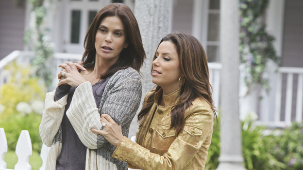 "DESPERATE HOUSEWIVES - ""I Guess This is Goodbye"" - As the season's mysteries are resolved, new ones emerge on the explosive Season Finale of ABC's ""Desperate Housewives,"" SUNDAY, MAY 16 (9:00-10:01 p.m., ET). Gaby risks her safety to help Angie; Lynette's fate and that of her unborn child lie in the hands of Eddie; Susan comes to grips with her financial woes; Bree considers confessing a secret she's harbored for years; and Angie must submit to Patrick's demands in order to protect her son. (ABC/DANNY FELD)TERI HATCHER, EVA LONGORIA PARKER"