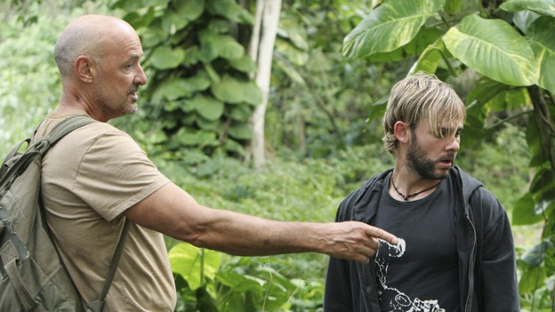 "LOST - ""Fire + Water"" - When Charlie's vividly surreal dreams lead him to believe Claire's baby, Aaron, is in danger, Locke suspects Charlie may be using again. Meanwhile, Sawyer encourages Hurley to act on his attraction to Libby, on ""Lost,"" WEDNESDAY, JANUARY 25 (9:00-10:00 p.m., ET), on the ABC Television Network. (ABC/MARIO PEREZ)TERRY O'QUINN, DOMINIC MONAGHAN"