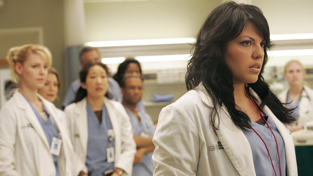 "GREY'S ANATOMY - ""Walk on Water"" - Beginning February 8, Grey's Anatomy enters a three-episode story arc that will challenge the interns of Seattle Grace -- and ""Grey's"" fans as well -- like never before. ""Walk on Water"" airs THURSDAY, FEBRUARY 8 (9:00-10:00 p.m., ET) on the ABC Television Network. Elizabeth Reaser (Independent Spirit Award winner for ""Sweet Land"") guest stars as a patient over multiple episodes. (ABC/VIVIAN ZINK)KATHERINE HEIGL, ELLEN POMPEO, SANDRA OH, SARA RAMIREZ"