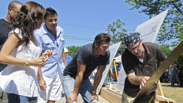 "EXTREME MAKEOVER: HOME EDITION - ""Boys Hope,"" Parts 1 & 2 - Ty Pennington and his design team, including new designers Xzibit and Jillian Harris, traveled to Baltimore, Maryland, to surprise the students of Boys Hope/Girls Hope in a unique way and reveal to them that their lives were about to change. For the first time in the history of the show, the recipients were surprised on live television when the ""EM: HE"" team greeted the students with the good news. Another first in the show's 170-plus episode history came unannounced, courtesy of Mother Nature, when an epic rainstorm threatened to knock the 11,000 square foot build off its strict seven-day schedule. Adding to the excitement, drama and fun of the build was the participation of the kids from the Emmy Award-winning comedy ""Modern Family"" (Ariel Winter, Nolan Gould, Rico Rodriquez), actress Raven-Symon, basketball superstar Shaquille O'Neal and music sensation Katy Perry. The two-part episode airs SUNDAY, SEPTEMBER 26 (7:00-8:00 & 8:00-9:00 p.m., ET) on the ABC Television Network. (ABC/FRED WATKINS)XZIBIT (OBSCURED), JILLIAN HARRIS,  MICHAEL MOLONEY, TY PENNINGTON, PAUL DIMEO"