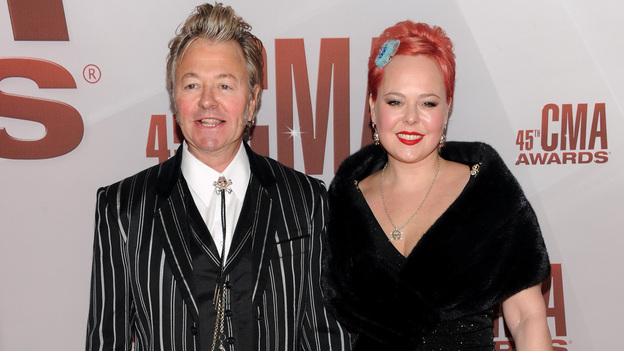 "THE 45th ANNUAL CMA AWARDS - RED CARPET ARRIVALS - ""The 45th Annual CMA Awards"" will broadcast live on ABC from the Bridgestone Arena in Nashville on WEDNESDAY, NOVEMBER 9 (8:00-11:00 p.m., ET). (ABC/JASON KEMPIN)BRIAN SETZER, JULIE REITEN"