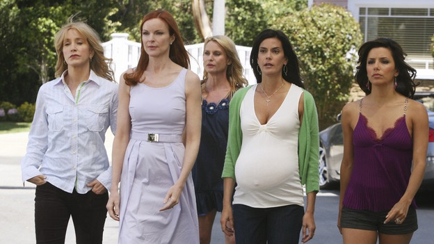 "DESPERATE HOUSEWIVES - ""Mother Said"" - The women of Wisteria Lane turn their backs on Edie Britt, on Desperate Housewives,"" SUNDAY, MAY 11 (9:00-10:02 p.m., ET) on the ABC Television Network.  (ABC/DANNY FELD) FELICITY HUFFMAN, MARCIA CROSS, NICOLLETTE SHERIDAN, TERI HATCHER, EVA LONGORIA PARKER"