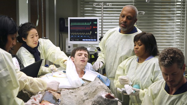 "GREY'S ANATOMY - ""Freedom"" - On the two-hour season finale of ""Grey's Anatomy,"" Meredith and Derek have one last shot at a successful outcome in their clinical trial, as the other surgeons work together to free a boy from a hardening block of cement. Meanwhile, Izzie helps Alex care for an ailing Rebecca, and Lexie discovers critical information about George's intern status, on ""Grey's Anatomy,"" THURSDAY, MAY 22 (9:00-11:00 p.m., ET) on the ABC Television Network. (ABC/MICHAEL DESMOND)SARA RAMIREZ, SANDRA OH, JAMES IMMEKUS, JAMES PICKENS JR., CHANDRA WILSON, ERIC DANE"
