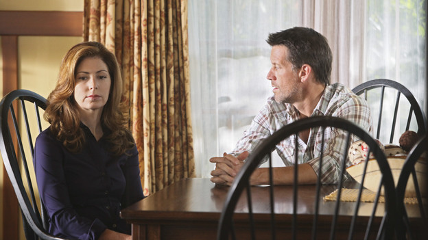 "DESPERATE HOUSEWIVES - ""Nice is Different Than Good"" - On the season premiere of ""Desperate Housewives,"" Mike Delfino's bride will finally be revealed: Will it be Katherine... or will recent events be enough to bring him and Susan back together? Lynette faces the reality of another pregnancy; Bree struggles to break free from Orson and her inhibitions; Gaby is put to the test by Carlos' teenaged niece, now in their care; and a new family with a dark past moves to Wisteria Lane, on ""Desperate Housewives,"" SUNDAY, SEPTEMBER 27 (9:00-10:01 p.m., ET) on the ABC Television Network. (ABC/DANNY FELD)DANA DELANY, JAMES DENTON"