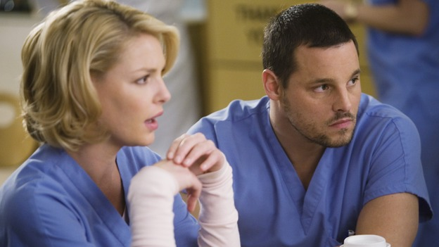 "GREY'S ANATOMY - ""Beat Your Heart Out"" - Izzie and Alex share lunch, on ""Grey's Anatomy,"" THURSDAY, FEBRUARY 5 (9:00-10:02 p.m., ET) on the ABC Television Network. (ABC/RANDY HOLMES) KATHERINE HEIGL, JUSTIN CHAMBERS"