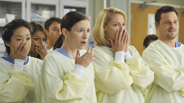 GREY'S ANATOMY - &quot;Life During Wartime&quot; - Cristina,&nbsp;Lexie and Izzie are shocked when Owen stabs live pigs for them to treat. Alex mostly just thinks it's cool, on &quot;Grey's Anatomy,&quot; THURSDAY, OCTOBER 30 (9:00-10:01 p.m., ET) on the ABC Television Network.&quot; (ABC/ERIC MCCANDLESS) SANDRA OH, CHYLER LEIGH, KATHERINE HEIGL, JUSTIN CHAMBERS