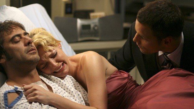 "GREY'S ANATOMY - In the first hour of part two of the season finale of ABC's ""Grey's Anatomy"" -- ""Deterioration of the Fight or Flight Response"" -- Izzie and George attend to Denny as the pressure increases to find him a new heart, Cristina suddenly finds herself in charge of an ER, and Derek grapples with the realization that the life of a friend is in his hands. In the second hour, ""Losing My Religion,"" Richard goes into interrogation mode about a patient's condition, Callie confronts George about his feelings for her, and Meredith and Derek meet about Doc. Part two of the season finale of ""Grey's Anatomy"" airs MONDAY, MAY 15 (9:00-11:00 p.m., ET) on the ABC Television Network. (ABC/SCOTT GARFIELD)JEFFERY DEAN MORGAN, KATHERINE HEIGL, JUSTIN CHAMBERS"