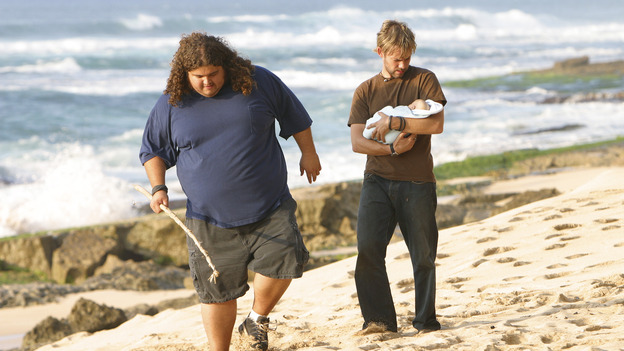 LOST - &quot;The Greater Good&quot; - Hurley, Charlie and baby Aaron. After burying one of their own, tempers flare as the castaways' suspicions of each other grow, on &quot;Lost,&quot;&nbsp;THURSDAY, MAY 4 on the ABC&nbsp;Television Network. (ABC/MARIO PEREZ) JORGE GARCIA, DOMINIC MONAGHAN