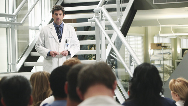 "GREY'S ANATOMY - ""State of Love and Trust"" - As Derek begins his role as interim chief, he faces a potential lawsuit when Bailey and Meredith's patient awakens from anesthesia mid-surgery. Meanwhile, Teddy refuses to place Cristina on her service, as Arizona tests Alex out in Pediatrics, and Mark refuses to speak to a heartbroken Lexie, on ""Grey's Anatomy,"" THURSDAY, FEBRUARY 4 (9:00-10:01 p.m., ET) on the ABC Television Network. (ABC/ADAM LARKEY)PATRICK DEMPSEY"