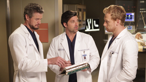 "GREY'S ANATOMY - ""These Arms of Mine"" - A documentary film crew visits the hospital six months after the shooting to document the road to recovery for doctors and patients. The camera lenses follow Derek, Owen, Mark & Callie as they ambitiously perform a rare arm transplant surgery, Meredith helps Cristina put on a brave face for the cameras, and Bailey's patient, Mary, returns for her surgery -- which marks the first time they've all seen of each other since that fateful day -- on ""Grey's Anatomy,"" THURSDAY, OCTOBER 28 (9:00-10:01 p.m., ET) on the ABC Television Network. (ABC/ADAM TAYLOR)ERIC DANE, PATRICK DEMPSEY, KEVIN MCKIDD"