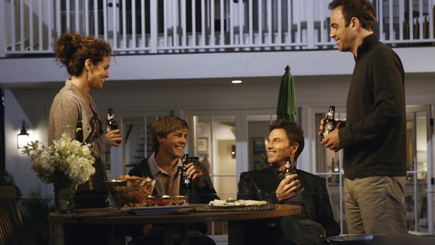 PRIVATE PRACTICE - &quot;In Which Addison Has a Very Casual Get-Together&quot; - Addison invites her fellow Oceanside Wellness co-workers to her house for a get-together, but no one RSVPs, the wife of Violet's ex-boyfriend visits the wellness center for medical treatment -- and Violet is none too happy about it -- Cooper counsels a young patient who is lovesick, and Sam appears on his first talk show promoting his self-help book, on &quot;Private Practice,&quot; WEDNESDAY, OCTOBER 17 (9:00-10:01 p.m., ET) on the ABC Television Network. (ABC/SCOTT GARFIELD)AMY BRENNEMAN, CHRIS LOWELL, TIM DALY, PAUL ADELSTEIN