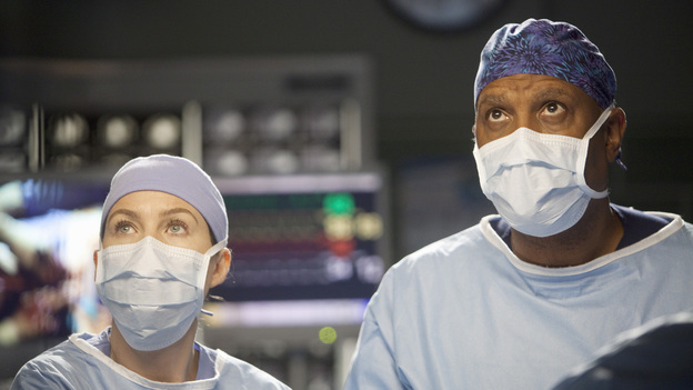 "GREY'S ANATOMY - ""Hope for the Hopeless"" - Richard performs his 10,000th surgery on a pair of bickering sisters (Nia Vardalos and Peri Gilpin) who come into the hospital for a liver transplant; Derek and Lexie take on a neuroblastoma case that has been previously deemed inoperable; Teddy and Cristina cross the line when they go against Owen's orders and try to steal a case from Alex and Dr. McQueen; Ellis Grey's shadow looms as Meredith searches for a specialty; meanwhile Adele is brought into the hospital after she is found wandering the streets, on Grey's Anatomy, THURSDAY, JANUARY 19 (9:00-10:02 p.m., ET) on the ABC Television Network. (ABC/RANDY HOLMES)ELLEN POMPEO, JAMES PICKENS JR."