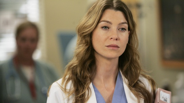 "GREY'S ANATOMY - ""Name of the Game"" - George begins to overstay his welcome at Burke's apartment; Meredith learns a secret about her father; Bailey worries her colleagues will not treat her the same now that she's a mother; and Alex gets a lesson in bedside manners, on ""Grey's Anatomy,"" SUNDAY, APRIL 2 (10:00-11:00 p.m., ET) on the ABC Television Network. (ABC/PETER ""HOPPER"" STONE)ELLEN POMPEO"