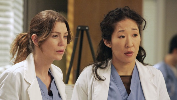 "GREY'S ANATOMY - ""Walk on Water"" - Beginning February 8, Grey's Anatomy enters a three-episode story arc that will challenge the interns of Seattle Grace -- and ""Grey's"" fans as well -- like never before. ""Walk on Water"" airs THURSDAY, FEBRUARY 8 (9:00-10:00 p.m., ET) on the ABC Television Network. Elizabeth Reaser (Independent Spirit Award winner for ""Sweet Land"") guest stars as a patient over multiple episodes. (ABC/VIVIAN ZINK)ELLEN POMPEO, SANDRA OH"